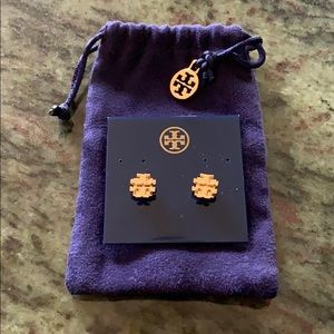 Tory Burch Small T Logo Stud Earring - New